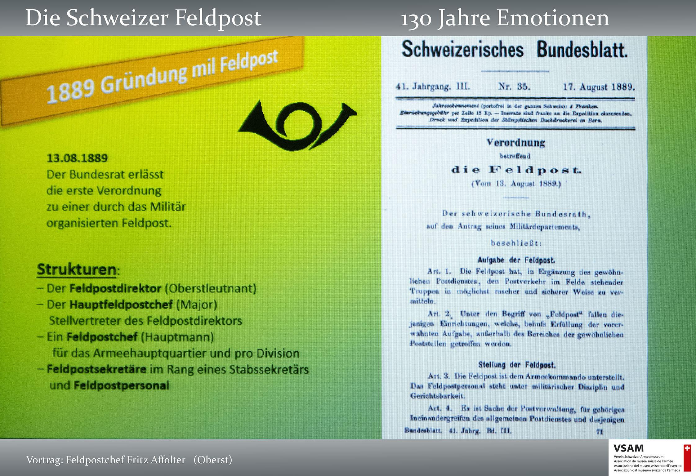 VSAM Vortrag Die Schweizer Feldpost 130 Jahre Emotionen von Frit